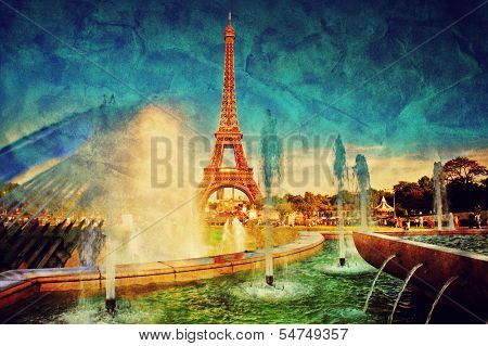 Eiffel Tower seen from fountain at Jardins du Trocadero at a sunny summer day, Paris, France. Vintage, retro style