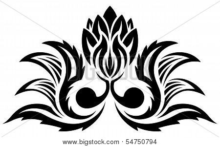 Black floral pattern, silhouette
