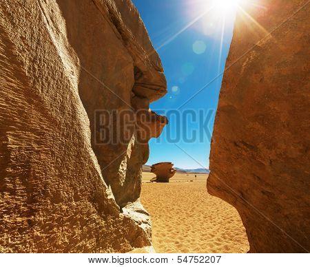 Arbol de piedra - Stone rock formation in Bolivia.