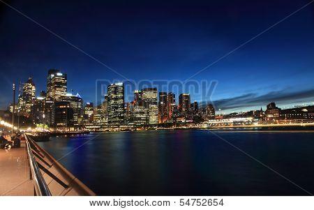 Twilight Cityscape Sydney Circular Quay Australia