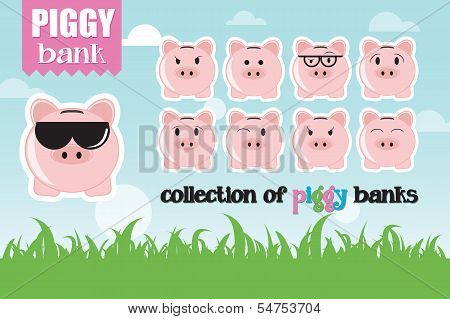 Collection of piggy banks with different face expressions and attitudes