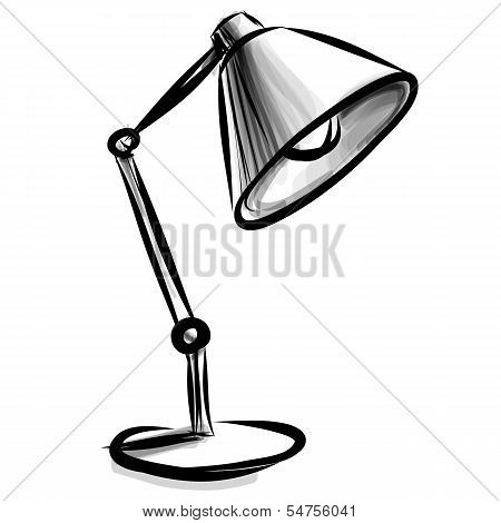Adjustable table lamp isolated on white