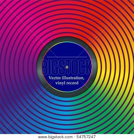 Rainbow envelope for vinyl, vector illustration