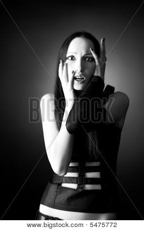 Scared Goth Woman Portrait