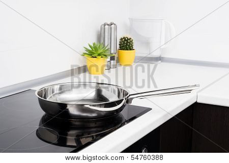 Frying Pan In Modern Kitchen With Induction Stove