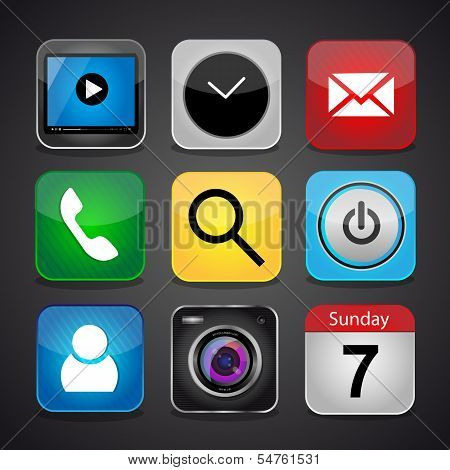 Vector app icon set on a black background