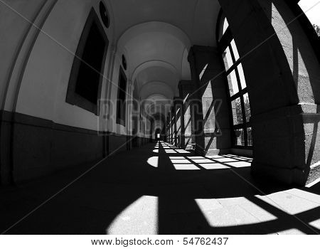 Aisle in black and white