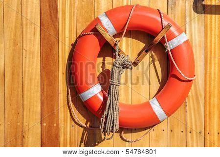 Orange Lifebuoy On Old Sailing Ship