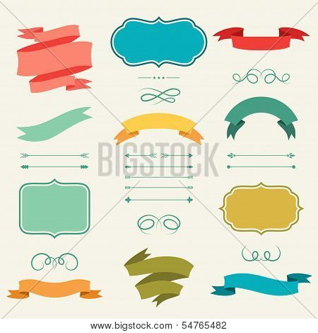 Set of romantic arrows, ribbons and labels in retro style.