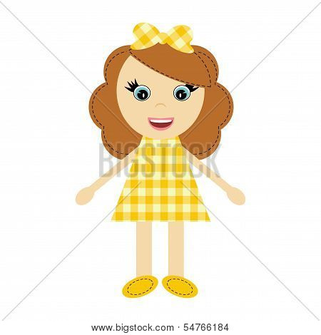 nice girl in checked dress