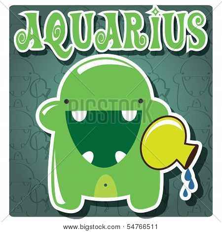 Zodiac sign Aquarius with cute colorful monster, vector