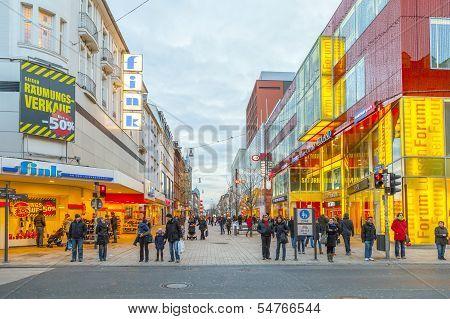 People Shop In The Main Pedestrian Area