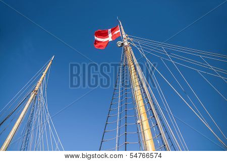 Mast And Danish Flag On A Large Sailing