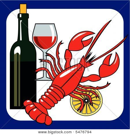 Vector seafood and wine icon