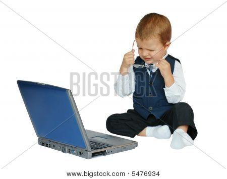 Baby Businessman Is Upset Or Has A Headache