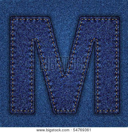 Jeans alphabet letter M