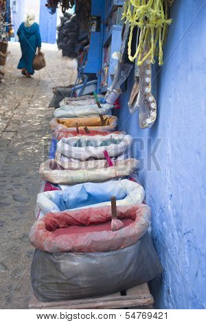 Color powders in Chefchaouen