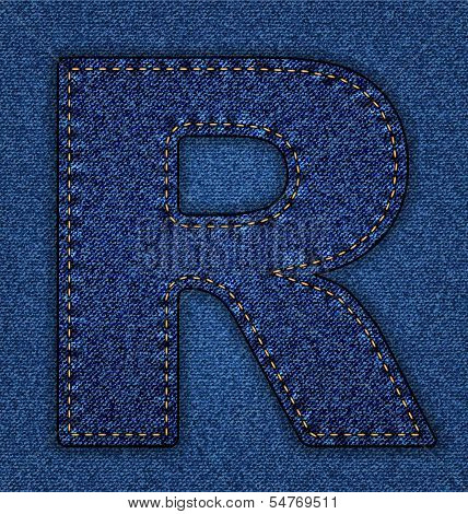 Jeans alphabet letter R