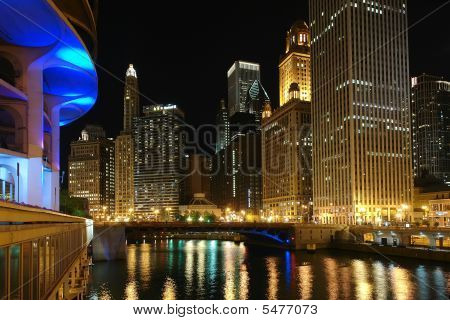 Downtown Chicago at night Chicago IL USA