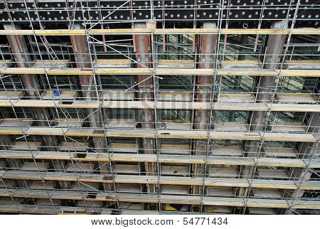 Front facade of a building under construction
