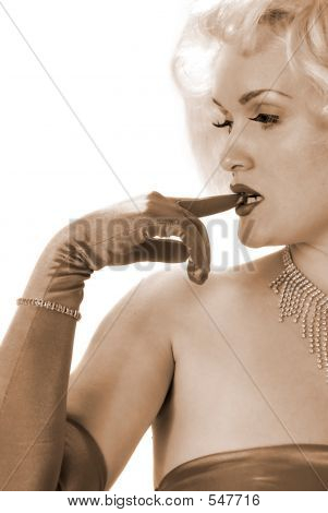 Sexy Marilyn Impersonator Biting On Gloved Finger