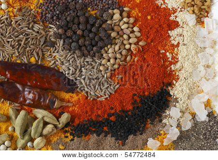 Asian curry spices, in the centre black pepper, coriander seeds, black mustard, cumin seeds, around that dried chillies, Kashmiri chilli powder, caraway seeds, saffron strands, etc