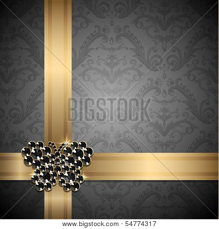 Golden ribbons with diamond butterfly decoration on ornate background -  eps10