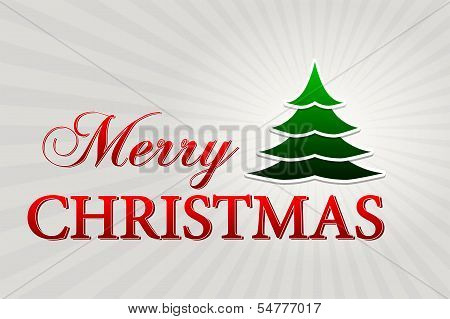Merry Christmas With Christmas Tree Over Silver Rays, Horizontal