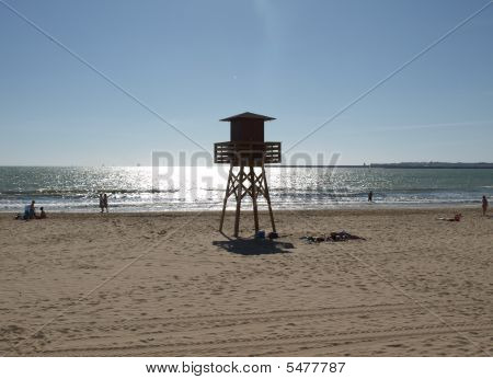 Lifeguard Platform On Beach