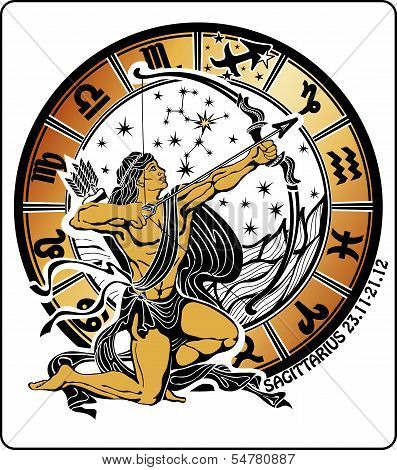 Sagittarius and the zodiac sign on a white background.Horoscope circle.