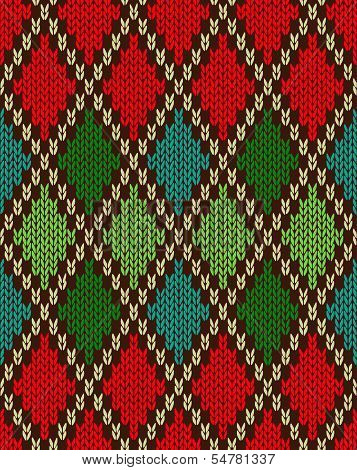 Seamless Christmas Knitted Pattern