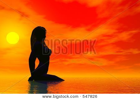 Sunset Nude Silhouette