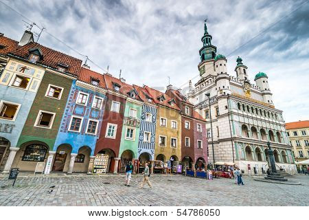 POZNAN, POLAND - AUGUST 21: The central square, Currently, Old Market is the center of tourism Poznan and the most beautiful part of the city, on August 21, 2013 in Poznan, Poland.