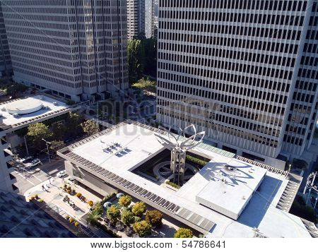 Aerial View Of Downtown Embarcadero Buidlings And Flower Sculpture