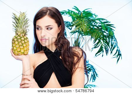 Woman And Pineapple