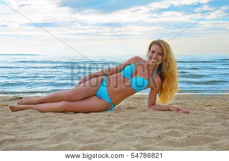 Young, Beautiful  Girl On The Beach