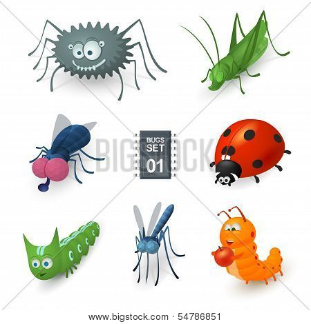 Cartoon bugs set