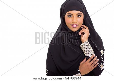 modern Arabic woman on white background