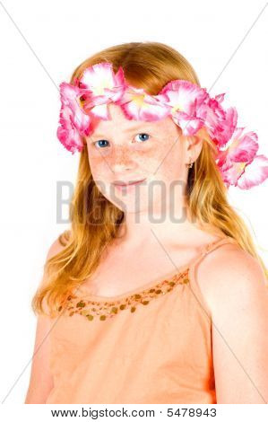 Girl With Flower Guirland On Her Head Isolated On White
