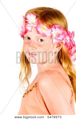 Girl With Flower Guirland On Her Head