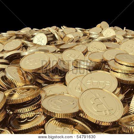 Golden bitcoin coins on balck