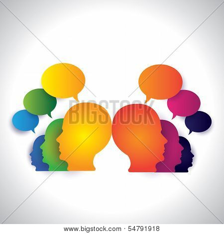 People Chatting, Discussing On Social Media - Concept Vector.