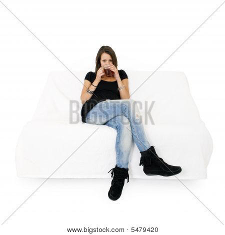 Woman On White Couch