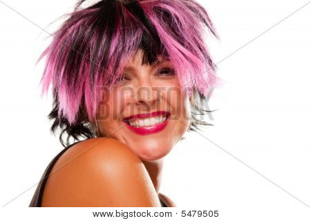 Pink And Black Haired Girl Smiling
