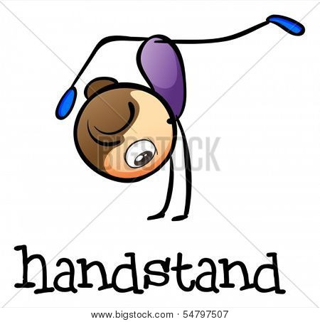 Illustration of a woman doing a handstand on a white background