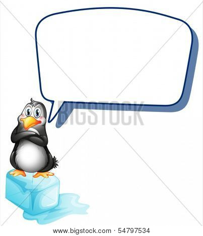 Illustration of a penguin above an ice cube with an empty callout on a white background