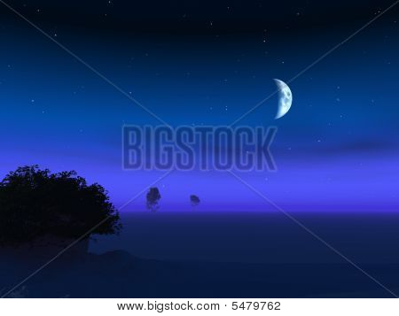 Lua no horizonte Crepúsculo