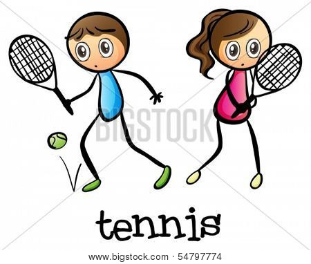 Illustration of a girl and a boy playing tennis on a white background