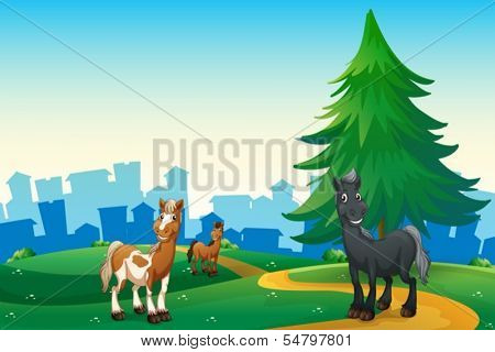 Illustration of the three horses at the hilltop across the village