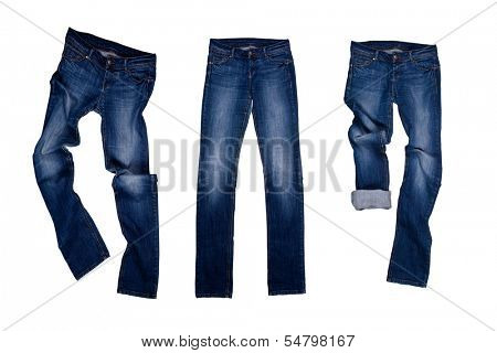 three blue jeans isolated on the white background